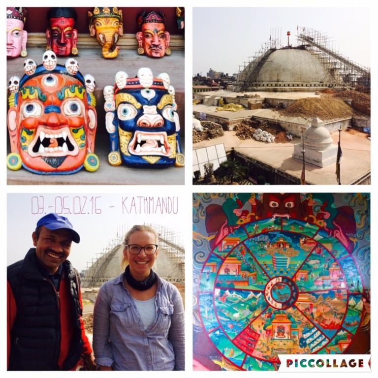 Mit Muga an der noch zerstörten Stupa von Bodnath