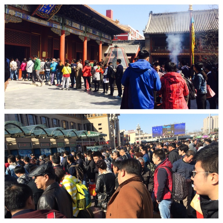 Queues at a temple and train station