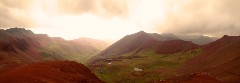 Panaoramic view to red valley